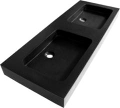 Zwarte Saniclass Black Spirit meubelwastafel 120cm 2 wasbakken 0 kraangaten natuursteen zwart 2387