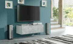 Pro-meubels - Zwevend Tv-meubel - Tv kast - Tunis - Wit - Betonlook - 100cm