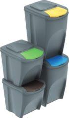 Grijze Prosperplast Sortibox scheidingsbakken set 2x25L + 2x35L IKWBMS4