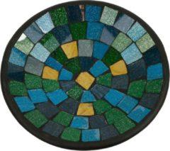 Fairtrade uit Indonesie Kom Mozaïek Blauw-Groen-Goudkleurig (21 cm)