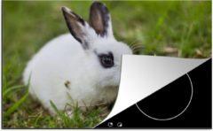 KitchenYeah Luxe inductie beschermer Baby konijnen - 78x52 cm - Baby konijn in een veld - afdekplaat voor kookplaat - 3mm dik inductie bescherming - inductiebeschermer