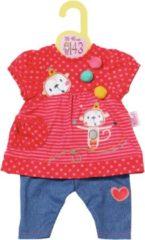 Rode ZAPF-Dolly Moda Dolly Moda Dress and Trousers 43cm Poppenkledingset