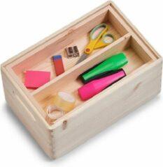 Beige 1x Houten kistje met inzettray en vakverdeling 30 x 20 cm - Zeller - Woonaccessoires - Kantoorbenodigdheden - Hobbybenodigdheden - Houten kisten met vakken