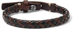 Fossil JA5932716 Armband staal/leder bruin-zwart gevlochten