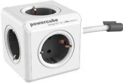 Allocacoc PowerCube Extended Stekkerdoos - NL/DE (Type F) - Geschikt voor 5 stekkers - Kabel 1,5 mtr. - Wit/Grijs