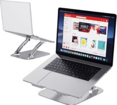 Zilveren Stanz Robuuste Laptop Standaard incl. 3x Gratis Webcam Covers - Ideaal voor Thuiswerken - Ergonomisch - Verstelbaar - Universeel tot 17 Inch - Bureau - Kantoor - Metaal