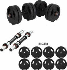 ECG Spor ECGSPOR Verstelbare Dumbbells - 2 x 10 kg - Halterset / Dumbbell Set 20 kg - Zwart