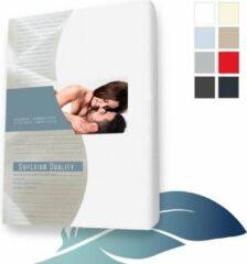 24-Bedding Hoeslaken topper topdek Jersey elastaan - Wit 80x200 cm