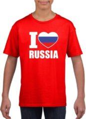 Rode Shoppartners Rood I love Rusland supporter shirt kinderen - Russisch shirt jongens en meisjes L (146-152)