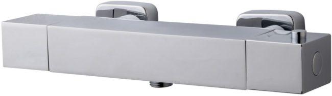 Afbeelding van Douche Concurrent Douchekraan Rombo 15cm Hartafstand Thermostatisch Opbouw Vierkant Chroom 2 Greeps