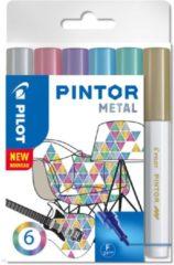 Paarse Pilot pintor metal set van 6 paint marker water based 517443
