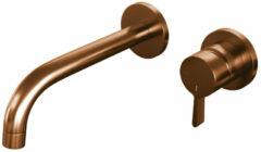 Brauer Copper Edition wastafelmengkraan inbouw energy-saving met rozetten, gebogen uitloop, handgreep 1 Koper Geborsteld PVD