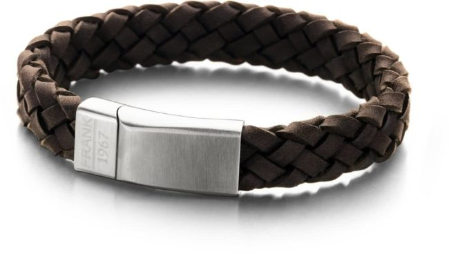 Afbeelding van Bruine Frank 1967 7FB-0135 - Leren gevlochten heren armband - met staal element - one-size - donkerbruin / zilverkleurig