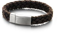 Bruine Frank 1967 7FB-0135 - Leren gevlochten heren armband - met staal element - one-size - donkerbruin / zilverkleurig