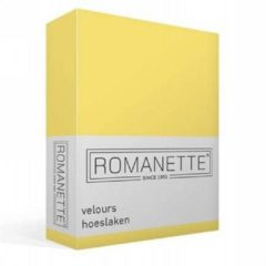 Romanette velours hoeslaken - 80% katoen - 20% polyester - Lits-jumeaux (160/180/200x200/220 cm) - Geel