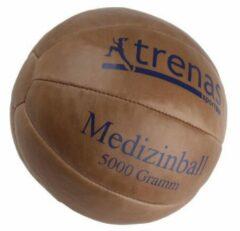 Trenas - Medicijnbal - Medicine bal - Klassische professionele medicijnbal - Leer - 5 kg - Bruin