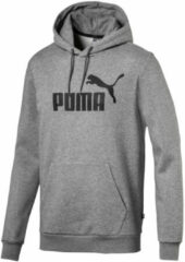 Grijze PUMA ESS Hoody FL Big Logo Trui Heren - Medium Gray Heather - Maat L