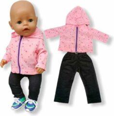 Isa's Friends Poppenkleding meisje - Baby Born kleertjes o.a. - Poppenkleertjes 43 cm - Roze jasje met broekje - Gratis verzending
