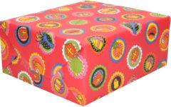 Bellatio Decorations 1x Rollen Sinterklaas kadopapier print rood 2,5 x 0,7 meter op rol 70 grams - Luxe papier kwaliteit cadeaupapier/inpakpapier - Sint en Piet