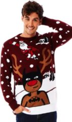 "Rode UglyXmas Foute Kersttrui ""SuperKerstman & z'n BatRendier"" - Grappige Kersttrui - Leuke Kersttrui - Christmas Sweater Maat XL"