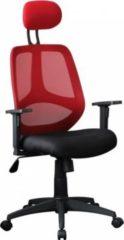 AMSTYLE Bürostuhl FLORENZ 2 Stoffbezug Rot Schreibtischstuhl 120kg Armlehne Chefsessel Drehstuhl Kopfstütze X-XL ergo