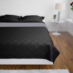 VidaXL Bedsprei gewatteerd dubbelzijdig 230x260 cm zwart/grijs