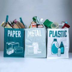 Relaxwonen - Recyclable Sorting - Recycle Tassen - Afval scheider - Afval sorteren - Afval sorteer tassen - Papier - Metaal - Plastic - Prullenbak - 3 Stuks