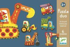 Djeco Puzzel duo - Bewegende auto's - 6 x 2 stukjes