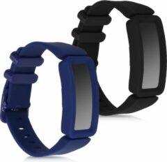 Kwmobile 2x horlogeband voor Fitbit Ace 2 - siliconen band voor fitnesstracker - zwart / donkerblauw