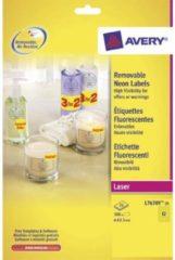Laseretiket Avery Rond 63,5mm Fluorgeel 25 Vel 12 Etiketten Per Vel