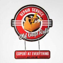 Rode Signs-USA Old Guys Rule - repair service - retro wandbord - vader klussen - 35 x 41,5 cm