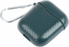 Donkergroene DrPhone ACG10 - Airpods 1/2 Hoesje - Carbon - Siliconen - Sleutelhanger - Legergroen