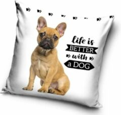 Carbotex Life is better with a Dog - Sierkussen - Kussen 40 x 40 cm 100% polyester inclusief vulling