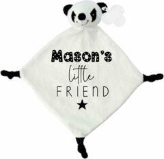 Witte Livingstickers Knuffeldoekje panda little friend met naam-persoonlijk kraamcadeau