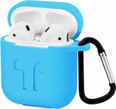 Lichtblauwe Case2go Apple Airpods hoesje - Premium Siliconen beschermhoes met opdruk - 3.0 mm - Licht Blauw
