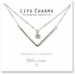 Life Charms Ketting met Giftbox Silver 2 Layer Chevron and a Crystal