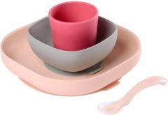 Béaba Siliconen Eet Set met Zuignap – Roze