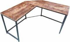 VDD Industrial Vintage Design Hoekbureau Stoer - L-vormige computertafel - industrieel vintage - zwart metaal met bruin hout