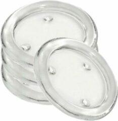 Transparante Trend Candles 4x Ronde kaarsenhouder/kaars onderzetters van glas 14 cm - Glazen kaarsenhouders voor stompkaarsen tot 10 cm doorsnede - Woondecoraties