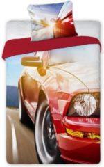 Faro Dekbedovertrek sportwagen - rode sport auto - eenpersoonsmaat met 1 kussensloop - 100% katoen