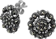 Zilveren The Jewelry Collection Oorknoppen Marcasiet - Zilver Geoxideerd