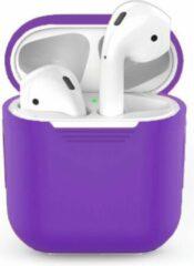 Teishop Siliconen case geschikt voor Apple Airpods - Donkerpaars