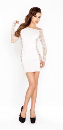 Afbeelding van Witte Passion - Wit mini jurkje met netstof mouwen, netstof doorschijnende zijkant - Wit