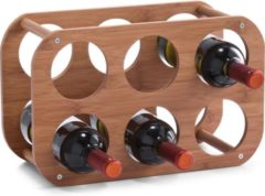 Bruine 1x Houten wijnflessen rekken/wijnrekken compact voor 6 flessen 38 cm - Zeller - Keukenbenodigdheden - Woonaccessoires/decoratie - Wijnflesrekken/wijnflessenrekken/wijnrekken - Rek/houder voor wijnflessen