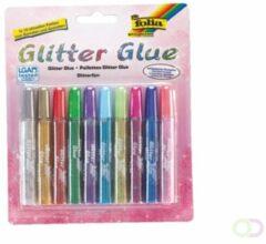 Folia Paper Glitterlijm Folia 9,5ml assorti blister à 10 stuks