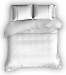 Warme Flanel Tweepersoons Dekbedovertrek Stripe Wit/Blauw | 200x200/220 | Hoogwaardig En Zacht | Ideaal Tegen De Kou
