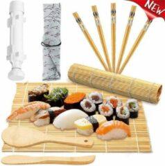 Witte KAMUS Sushi Kit, Complete Sushiset,Bazooka & Sushi Kit Bamboe, 2 Bamboe Sushi Matjes&Bazooka, Incl 5 paar Bamboe Chopsticks & Rijstlepel en 1 rijstverspreider, Prachtige product als voor Verjaardag Cadeau