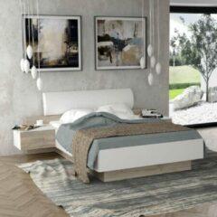 Anders MOROLLA Bed 140x190 cm met 2 nachtkastjes + imitatie hoofdeinde - Wit