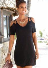 Zwarte LASCANA shirt (set van 2) met verenprint, voordeelset