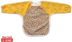 Donkerrode KliederZ.nl Slab met mouwen | KliederZ lange mouwslab 6 - 24 mnd | meisje babyslab Aboriginal art geel LB01a